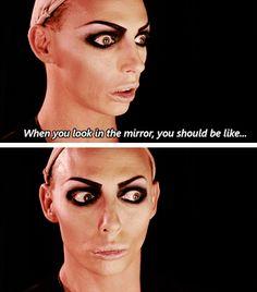 Alyssa Edwards & those amazing make up faces. Rupauls Drag Race Funny, Rupaul Drag Queen, Alyssa Edwards, Adore Delano, Drag Makeup, Queen Makeup, Save The Queen, Drag Queens, Reaction Pictures