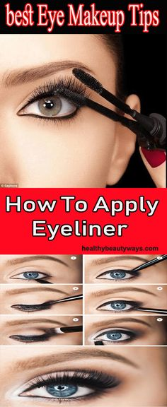 Eye Makeup Tips - How To Apply Eyeliner - Healthy Beauty Ways Augen Make-up Tipps - Wie man Ey Makeup Tutorial Eyeliner, Eye Makeup Tips, Eyeliner Ideas, Makeup Ideas, I Love Makeup, Cute Makeup, How To Apply Eyeliner, Applying Eyeliner, Eyeliner For Beginners