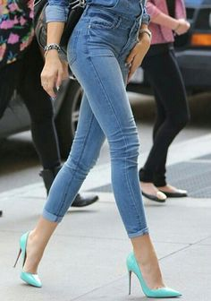 Denim and high heels. Sexy