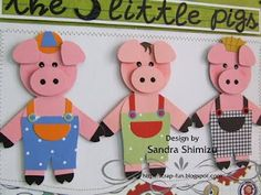 fun-ideas handmade: The three little pigs Mais Kids Crafts, Book Crafts, Paper Crafts, Diy And Crafts, Paper Punch Art, Punch Art Cards, Arte Punch, Puppets For Kids, Three Little Pigs