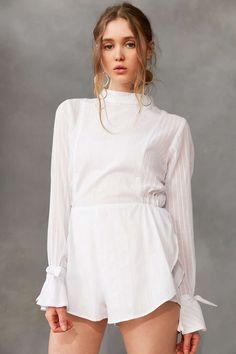 SIR The Label Alessa Long-Sleeve Mock-Neck Romper - Urban Outfitters