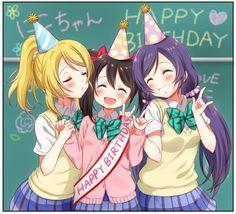 Happy Birthday Nico! Love Live! School idol project, Yazawa Nico, Ayase Eli, Nozomi Tojo
