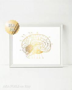 Cerebro anatomía imprimir hoja de oro genuino cerebro arte