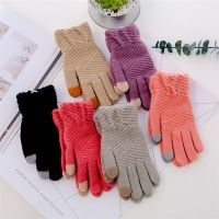 Cheapest Gloves Graceful Winter Style for Touch Screen Separated Fingers Knitted Fleece Keep Warm Unisex Gloves Rose