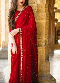 Saree designs - Red colore designer saree with moti work wedding wear saree exclusive Saree Party wear saree Bollywood Style Designer saree – Saree designs Saree Designs Party Wear, Party Wear Sarees, Saree Blouse Designs, Chiffon Saree Party Wear, Indian Fashion Dresses, Dress Indian Style, Indian Outfits, Saree Look, Red Saree