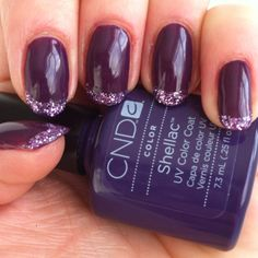 Glitter Tip Mani - using CND Shellac in Rock Royalty and purple glitter.  By Shine Nails