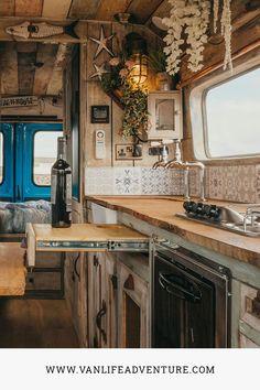 Home Cinema Speakers, Built In Speakers, Van Conversion Interior, Van Interior, Kitchen Shower, Diy Kitchen, Campervan Ideas, Bus House, The Door Is Open
