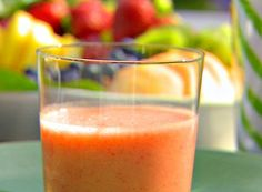 Ingredients 1 1/2 cups freshly squeezed orange juice (4 oranges) 1 tablespoon freshly squeezed lime juice 1 cup strawberries, tops removed, and cut in 1/2 1 to 1 1/2 ripe bananas Directions Combine the orange juice, lime juice, strawberries, and banana in a blender and process until smooth. Refrigerate until cold. SERVES 3 http://www.foodnetwork.com/recipes/ina-garten/orange-banana-smoothie-recipe/index.html?oc=linkback
