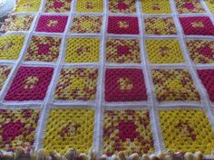 Vintage Hand Crochet Yellow & Pink Granny Square Afghan Blanket by CindysCozyClutter on Etsy