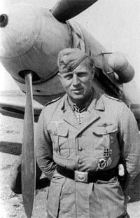 Oberleutnant Otto Schulz (born 11 February 1911 in Treptow an der Rega – died 17 June 1942 in Sidi Rezegh) was a German World War II Luftwaffe fighter ace. He scored 48 of his victories against the Western Allies and three victories over the Eastern Front in over 450 combat missions whilst flying the Messerschmitt Bf 109. Also, as distinct from Otto Schultz, another German fighter ace in World War 2 who flew with JG51 over the Eastern Front. Luftwaffe, German Soldiers Ww2, German Army, Flying Ace, Afrika Korps, Ww2 Planes, Fighter Pilot, North Africa, Military Aircraft