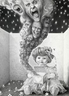 Pandora's box - surreal artwork by the amazing Laurie Lipton  #drawing #art #skeletons