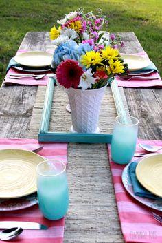 Easy Vintage Picnic Table Setting
