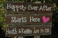 CUSTOM  Large Wedding Sign -3 rows of wood -you choose the words ALL PAINTED. $49.00, via Etsy.