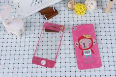 Cute Pink monkey  Design Front Back Skin Sticker Protector for iPhone 4 4S Buy one get one free $6.99