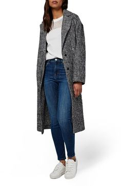 Topshop Textured Slouchy Coat at Nordstrom.com. A retro-styled tweed coat in an oversized boyfriend fit defines casual sophistication on this duster-length topper refined by a notch collar and back vent. Throw on over nearly anything for a look that's instantly fashion-forward.