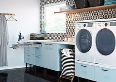 7 Home Interior That Has A Minimalist Laundry Room Home Decorating The concept of having a Home Interior That Has A Minimalist Laundry Room in the house is to save a lot of money on the laundry. In the past, people ha. White Laundry Rooms, Laundry Room Bathroom, Bathrooms, Laundry Room Pictures, Room Wanted, Modern Kitchen Design, Home Organization, Living Room Designs, Building A House