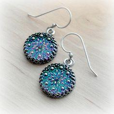 Blue Green Earrings Purple Glass Earrings Glass Button Earrings Lavender Jewelry Glass Button Jewelry Glass Jewelry by pink80sgirl on Etsy