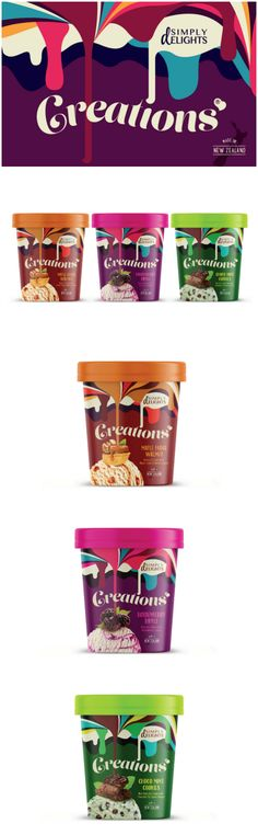 Brand Identity and Packaging Design for New Private Label Ice Cream Range Design Agency:Love Mondays Brand / Project Name:Simply Delights 'Creations' Location:Sweden Category: #dairy #icecream  World Brand & Packaging Design Society