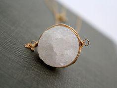 White Druzy & Gold Necklace