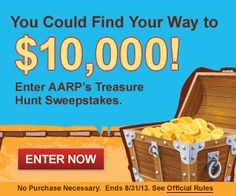 AARP Treasure Hunt $$ Enter to a Chance to Win $10,000 + $200 Gift Card Each Day!