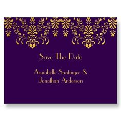 Purple with Yellow Floral Swirls Save The Date