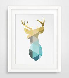 Boy Nursery, Boy Nursery Wall Art, Deer Head, Boys Nursery, Wall Art, Blue and…