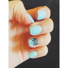 Mandala Minds - Instagram • Hand Painted Mandala Nail Design • Essie Nail Polish • mint / black • beauty