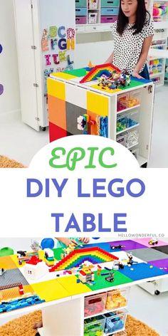 Table Lego Diy, Lego Table With Storage, Storage For Legos, Lego Building Table, Lego Play Table, Kids Craft Storage, Creative Toy Storage, Ikea Toy Storage, Toy Storage Solutions
