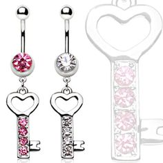 316L Surgical Steel Navel Ring Gemmed Key With Heart Dangle-WildKlass Jewelry
