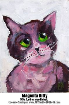 Magenta Kitty – 5.5 x 4 x 1.5, original oil animal painting on wood block