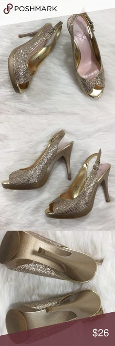 Miss America sparkly gold peep toe heels with box Miss America sparkly gold peep toe heels with box. Slingback style with adjustable back. Approx 4.5in heel with 0.5in platform. Worn once to try on indoors. Glittery and eye catching! Perfect for going out, parties, wedding, and any special occasion! Miss America Shoes Heels
