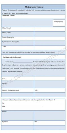 Photo Release Form  Free Model Consent Template  Paperwork