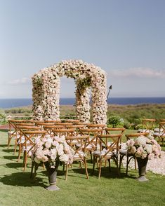 """The Lanai Gardens at the Four Seasons Lanai was a stunning setting for the two to wed. An archway of light pink and white roses met them at the end the aisle. """"Words cannot describe how magical the day was,"""" Michelle says. Hawaiian Destination Weddings, Hawaii Wedding, Pastel Wedding Colors, Pastel Floral, Pastel Colour Palette, Pastel Colors, Hawaiian Dancers, Floral Headpiece, Bride Accessories"""