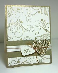 Palmtrees and Pogosticks-gold heart, wedding card