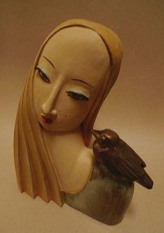 Weisse Frau - Keramik Kunst Büste von Margit Hohenberger