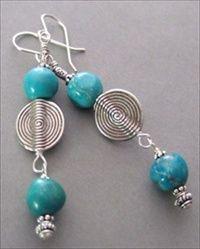 Handmade jewelry - Hand rounded Arizona turquoise, Thai silver  - handmade-beaded-gemstone-jewelry.com