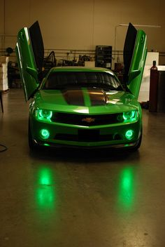 2010 Chevy Camaro with Green LED Angel Eye Headlights and Fog Lights. More custom Lighting jobs here: www.Flickr.com/FlyRyde/Collections