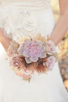 Succulents, roses, and feathers