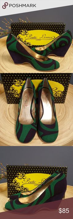 Poetic License shoes Funky cute wedge green and deep purple swirl size 10 worn once!  EUC! Shoes Wedges