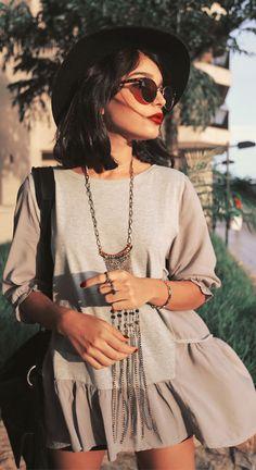 #hat #black #blouse #top #shorts #shades #bag #boho #hippie #indie #womens #fashion #street #style #summer