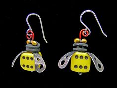 Boxcar Bee Earrings by Lisa and Scott Cylinder: Metal Earrings available at www.artfulhome.com