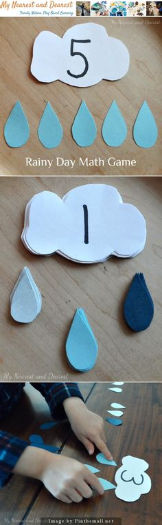 Rainy Day Math Games - This easy-to-make math game is inspired by a rainy day?and perfect for playing on a rainy day!s a great way for your preschooler to practice number recognition, one-to-one correspondence, and patterning. Preschool Lessons, Preschool Classroom, Preschool Learning, Kindergarten Math, Classroom Activities, Fun Learning, Learning Activities, Preschool Activities, April Preschool