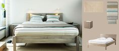 NYVOLL light grey bed with bedside tables and PALMLILJA beige quilt cover and pillowcases