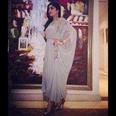 Natasha Abdulla looks flawless this Eid in Umaima Mustafa Latest Pakistani Dresses, Indian Dresses, Indian Outfits, Abaya Fashion, Indian Fashion, Fashion Dresses, Women's Fashion, Drape Gowns, Draped Dress