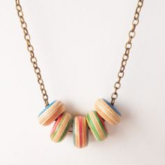Wooden Skateboard Necklace - Deadwood Creative - blue, green, red