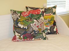 Pair of Schumacher Chiang Mai Dragon in by SewSusieDesigns on Etsy