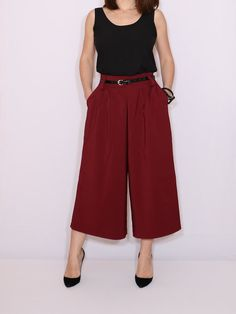 1f3832589da1d Wine red culotte pants High waist capris with pockets Red Culottes