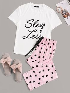 To find out about the Slogan Graphic Tee and Tie Waist Pants PJ Set at SHEIN, part of our latest Pajama Sets ready to shop online today! Cute Pajama Sets, Cute Pjs, Cute Pajamas, Pajamas Women, Girls Fashion Clothes, Teen Fashion Outfits, Outfits For Teens, Gothic Fashion, Cute Lazy Outfits