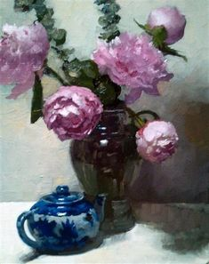 """DENNIS PERRIN  Peonies & Eucalyptus, 2012    oil paintingonstretched linen  20""""hx16""""wx.75""""d"""
