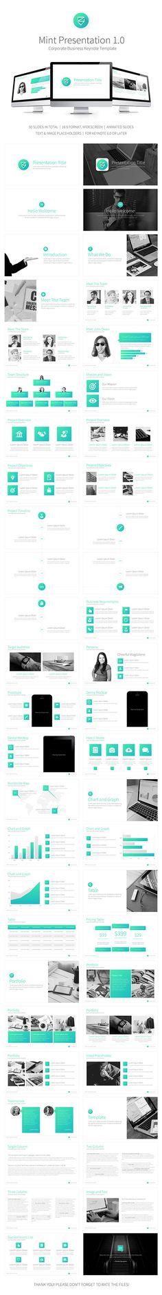 Mint Presentation Keynote Template #design #slides Download: http://graphicriver.net/item/mint-presentation-keynote-template/13269995?ref=ksioks